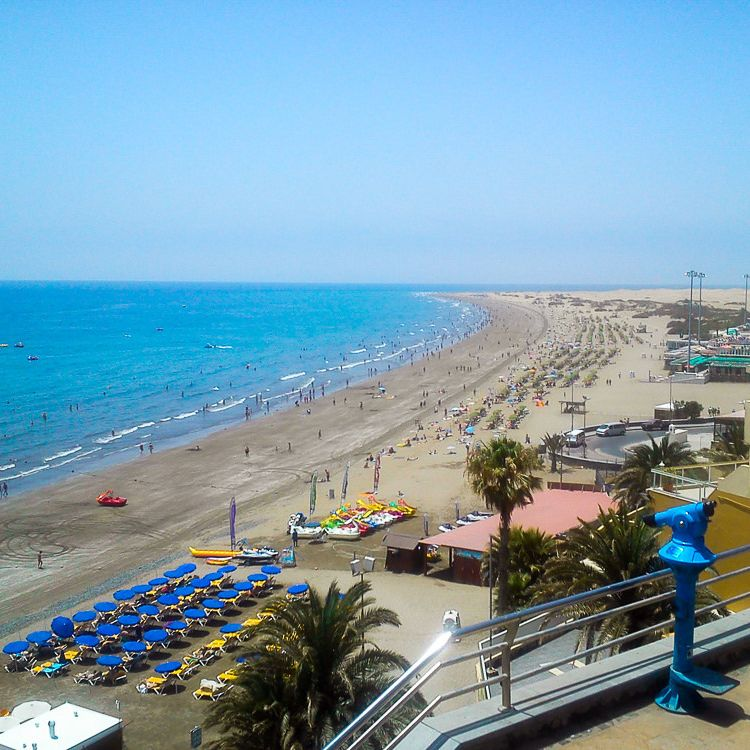 Playa del Ingles seen from a high view point.