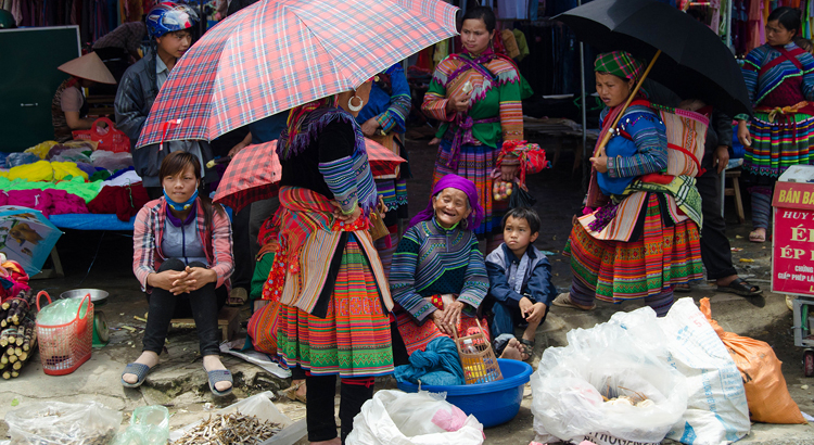 Hill-tribe women in Sapa, Vietnam