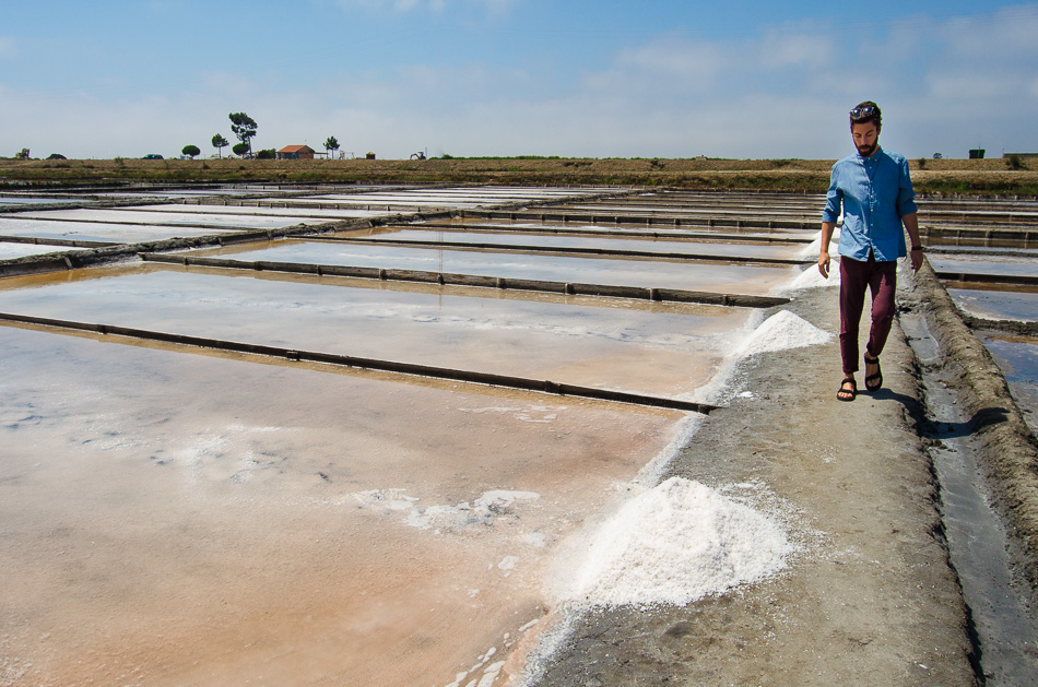Mario walking on the salt pans of Aveiro
