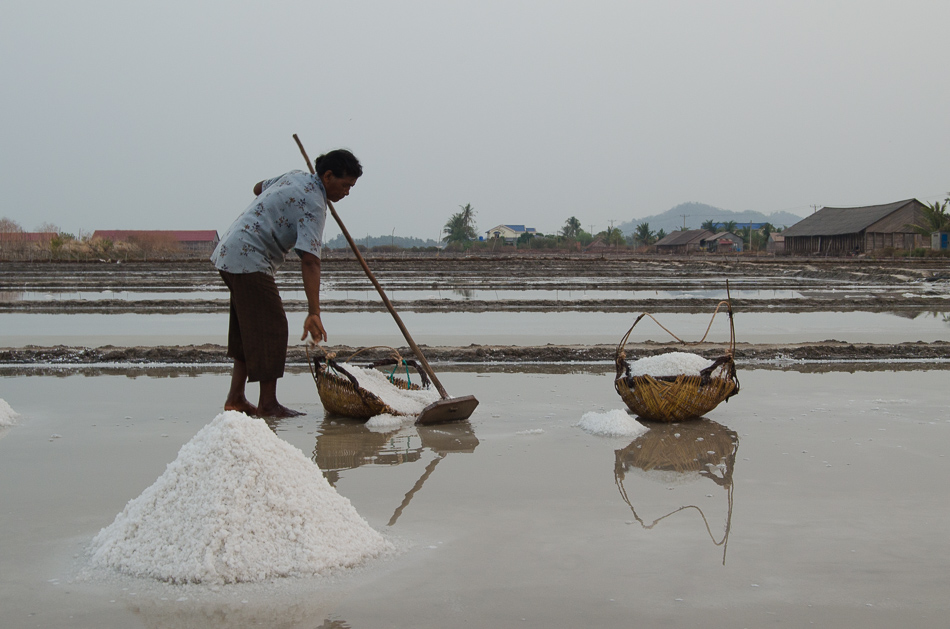 Cambodian worker at the salt pans