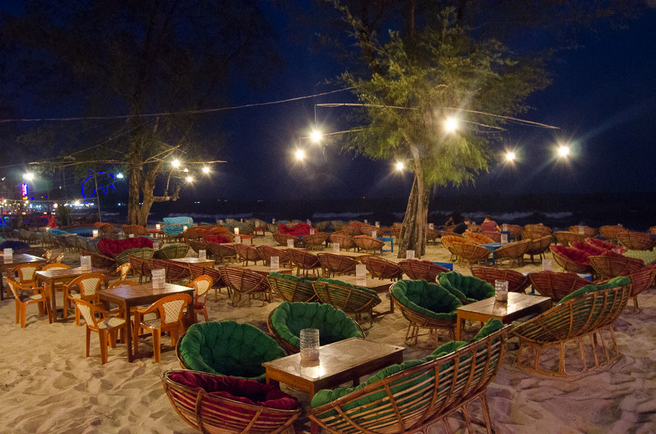Splanades in Sihanoukville beach at night