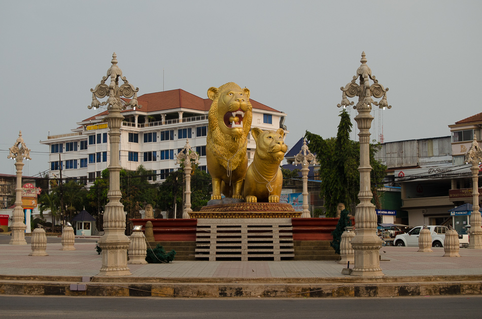 Two lions roundabout in Sihanoukville, Cambodia