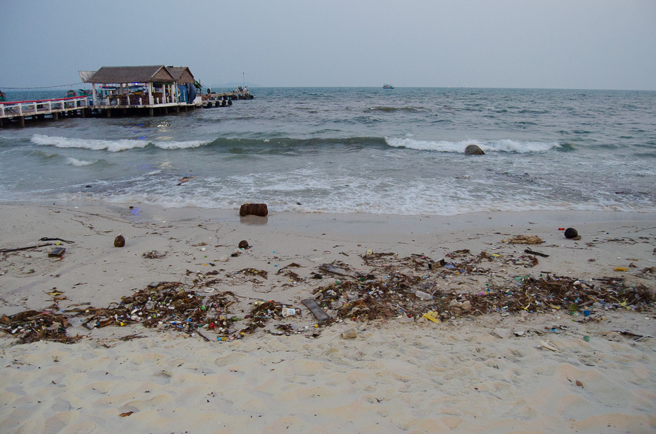 Garbage in the sand of Sihanoukville beach
