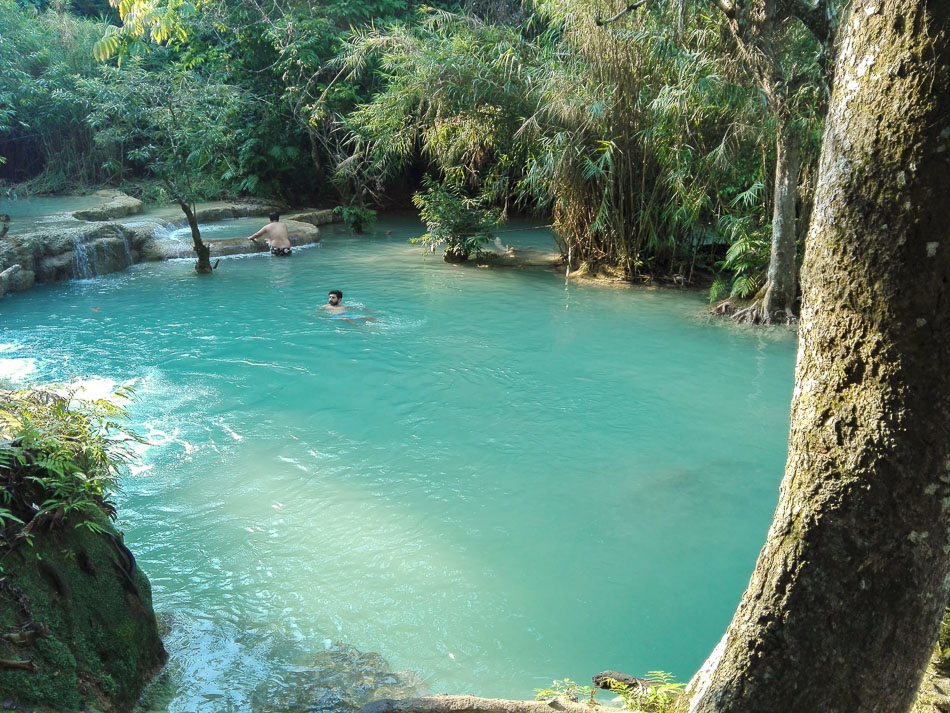 Swimming at Kuang Si Waterfalls