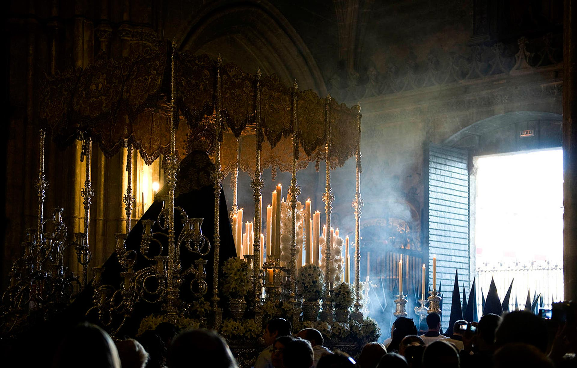 Altar and procession in Seville Holy Week