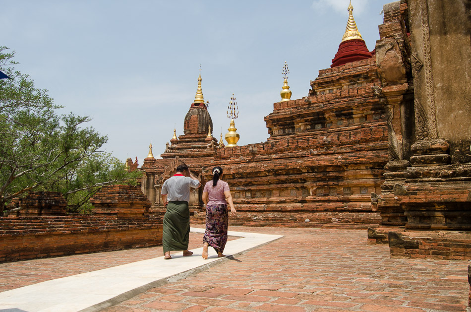 Locals walking on Myanmar temple