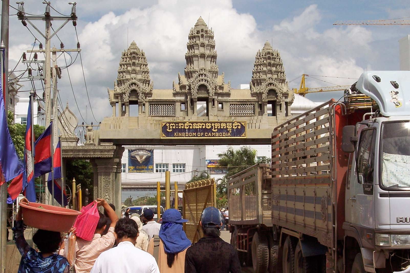 Crossing border gate in Cambodia