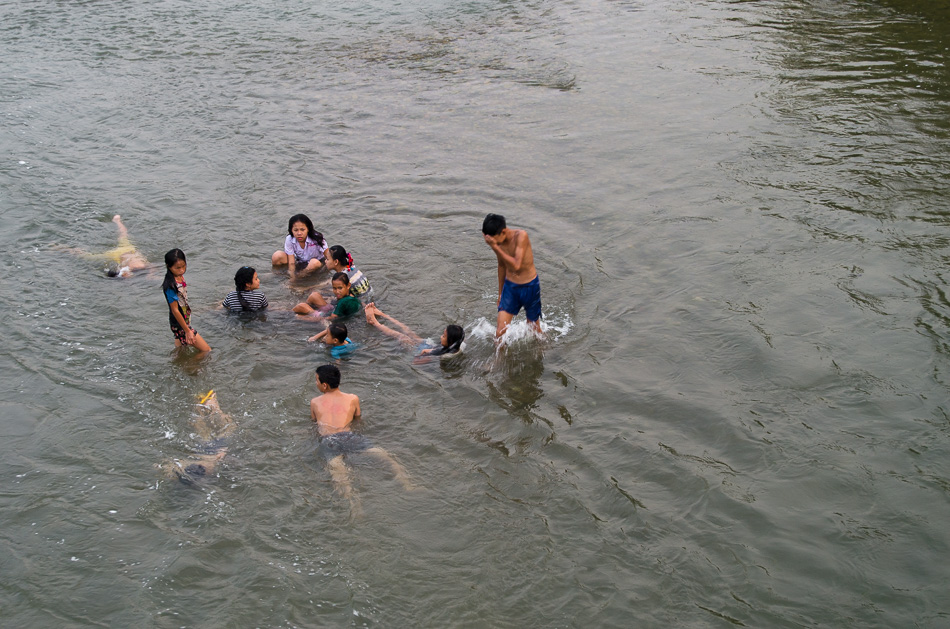 Swimming Nam Song river