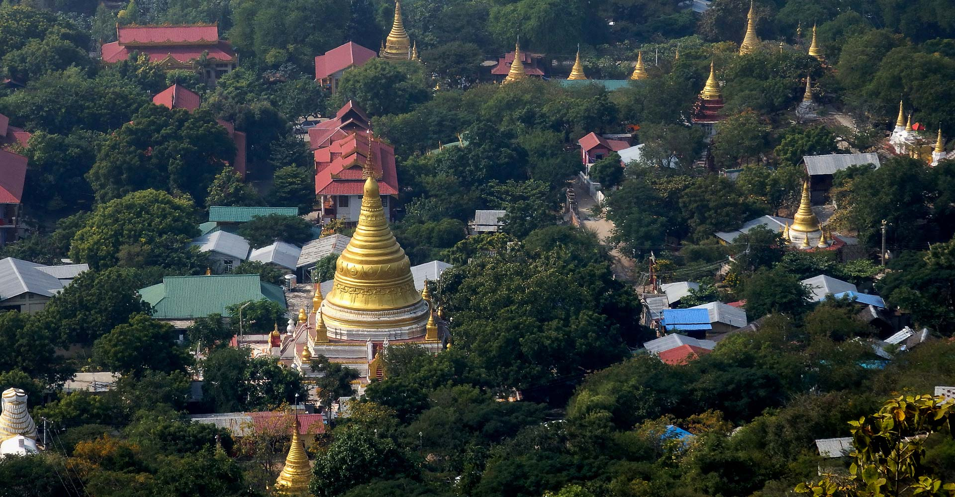 View gold stupas in Mandalay