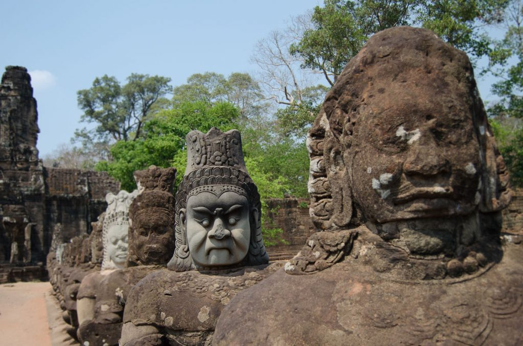 Statues in the south gate of Angkor