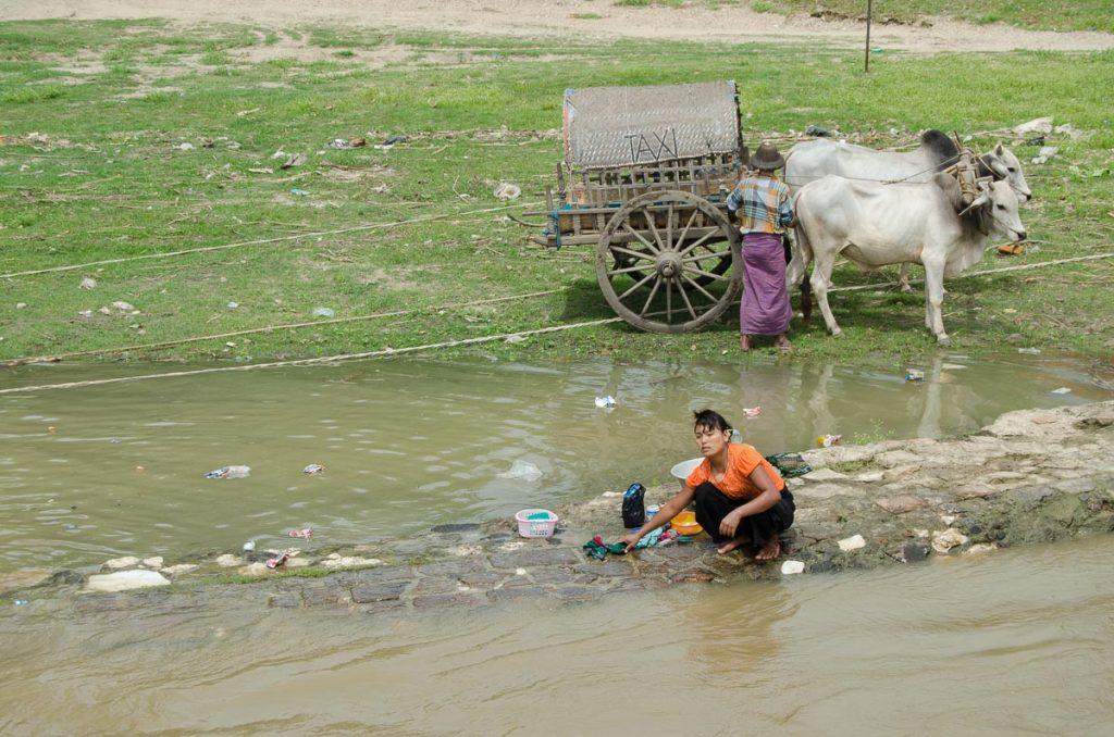 Woman Washing clothes Mingun River