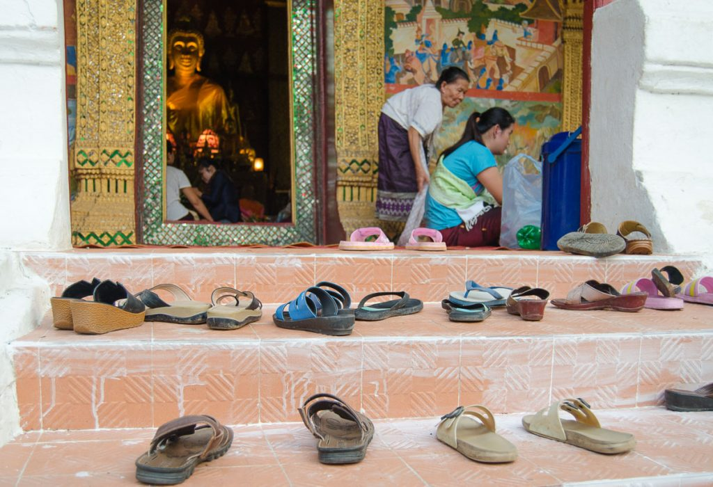 Shoes outside a Buddhist temple