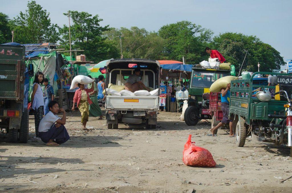 A busy street in Mandalay